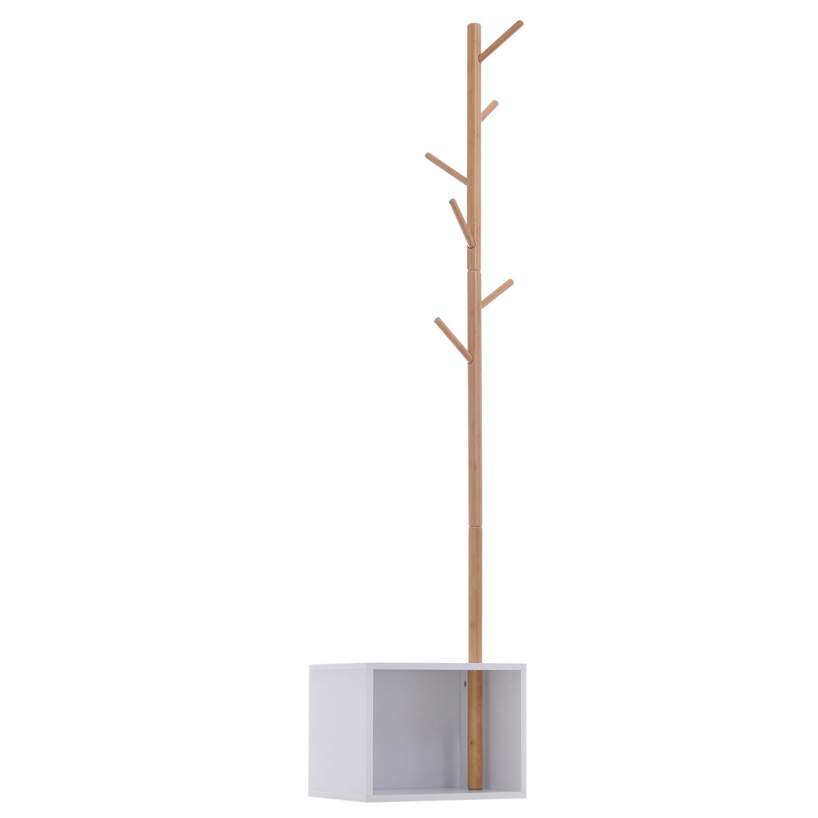 Meuble rangement porte-manteaux 2 en 1 blanc bois bambou