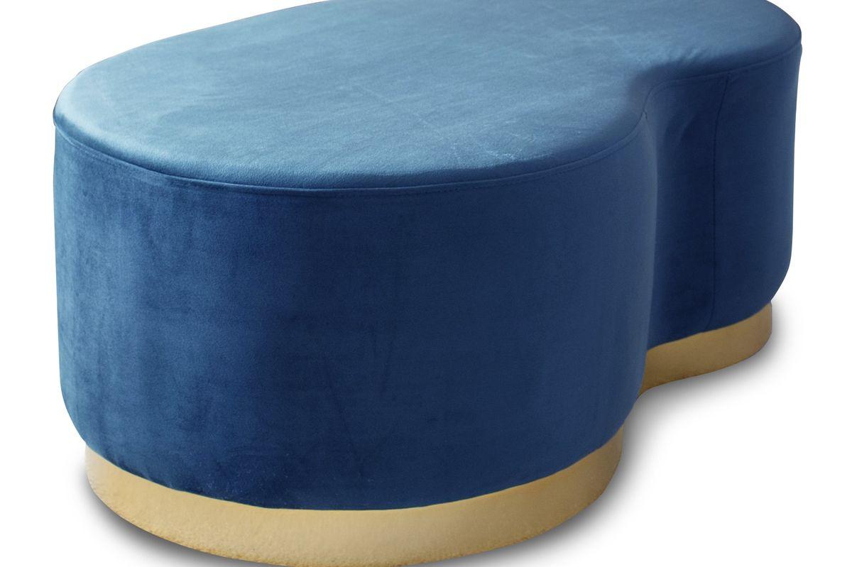 Pouf haricot 2 places en velours bleu et métal doré