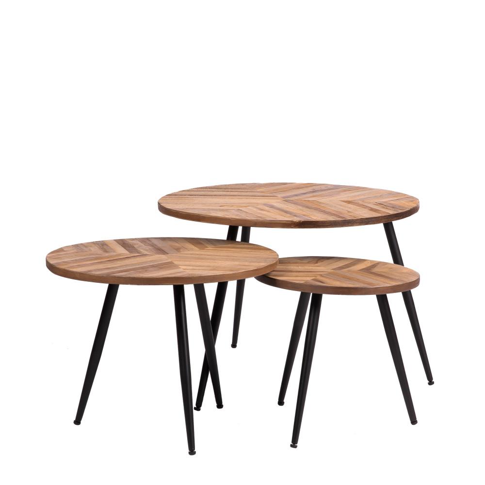3 tables basses rondes en métal et teck recyclé