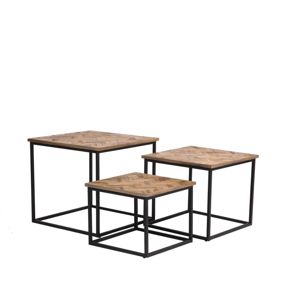 3 tables basses gigognes carrées en métal et teck recyclé