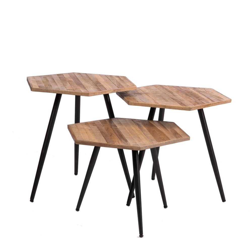 3 tables basses en métal et teck recyclé
