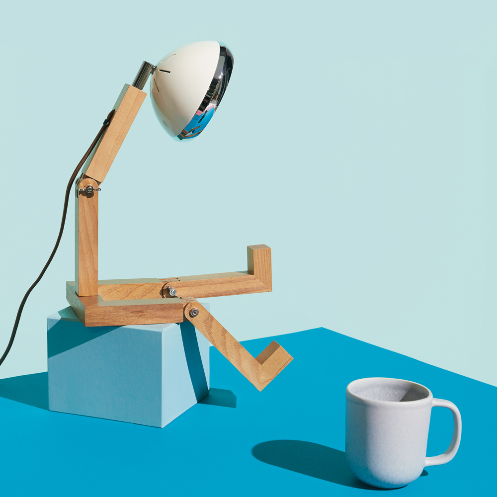 Lampe de table Mr. Wattson blanc vintage