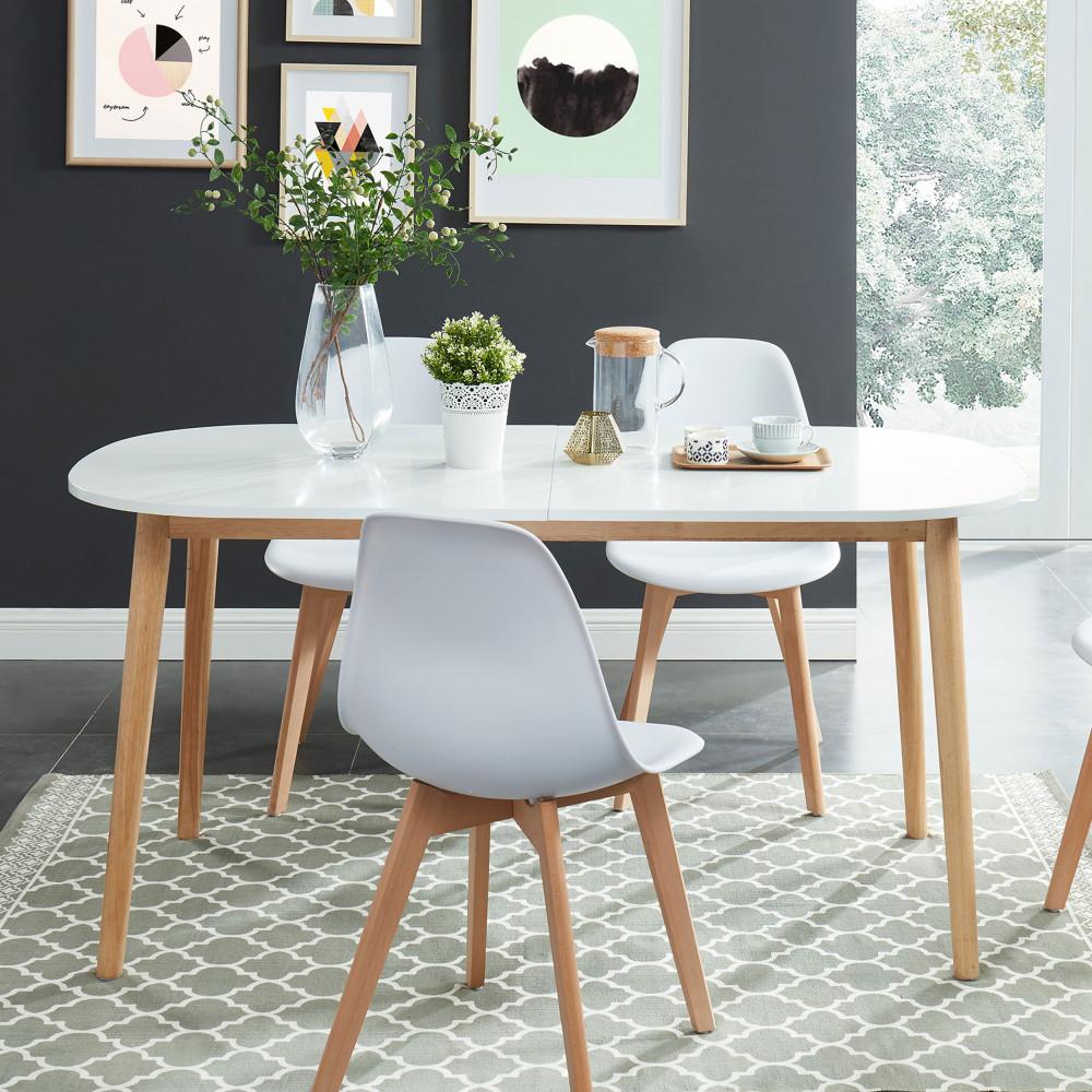 Table à manger scandinave extensible 160-200 x 80 cm blanc