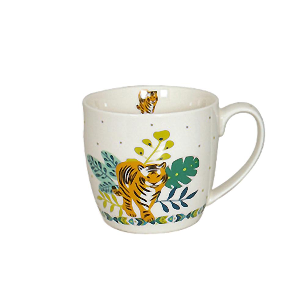 Tasse en porcelaine blanche tigre