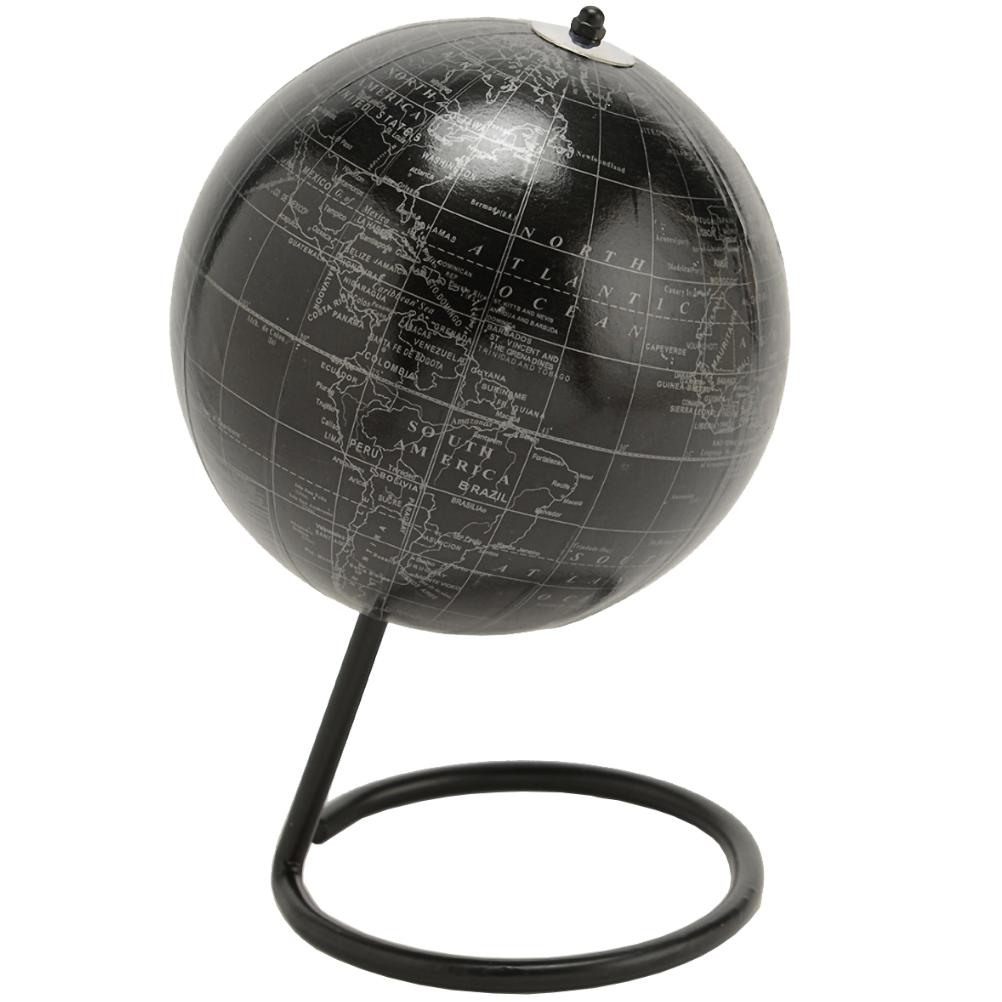 Globe terrestre noir et argent D16cm