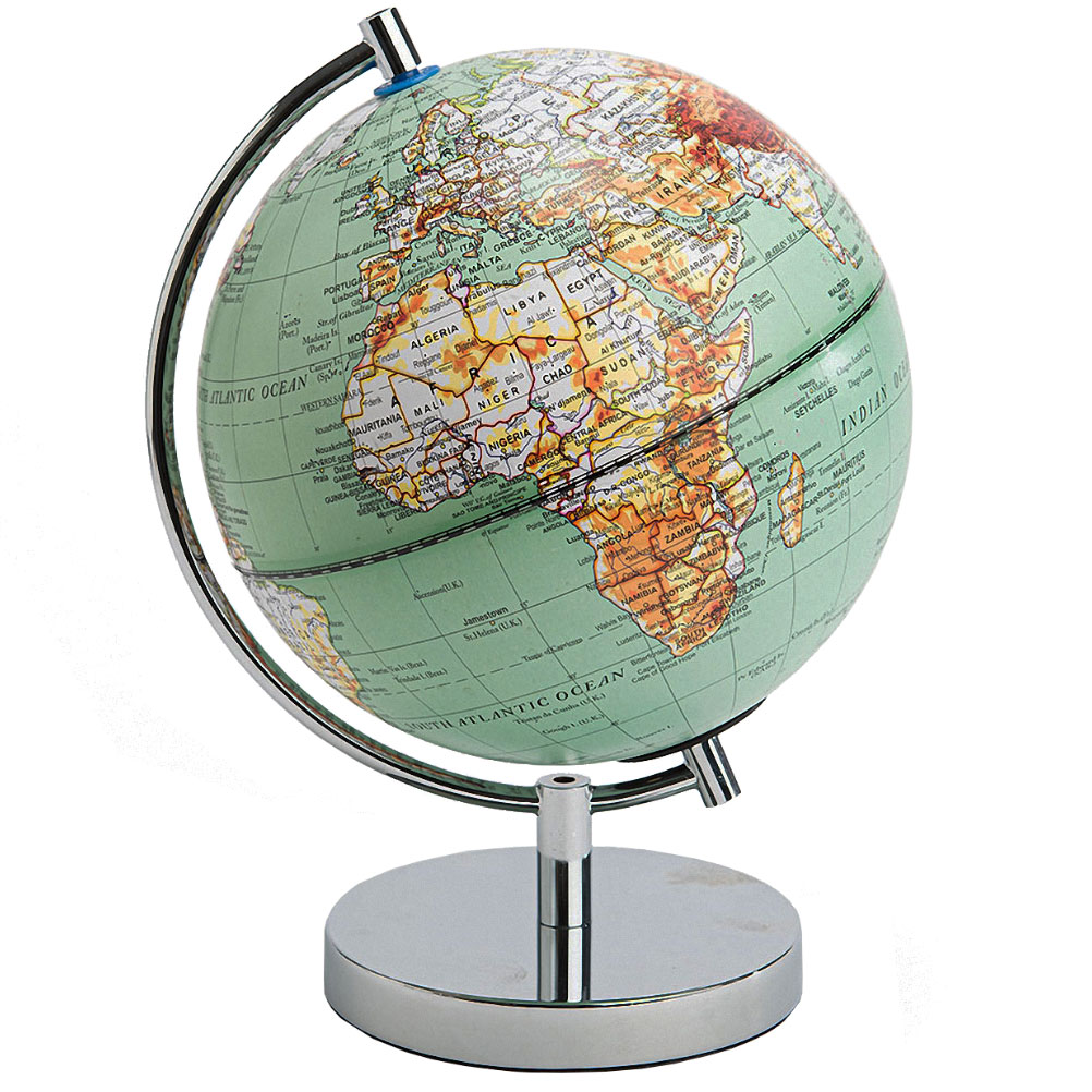Décoration globe terrestre vert H29cm