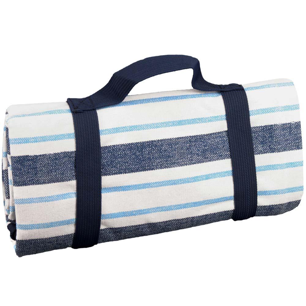Nappe XL pique-nique imperméable rayures bleues 280 x 140 cm