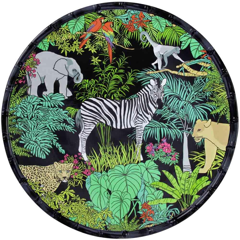 Plat de service rond en mélamine avec des motifs jungle