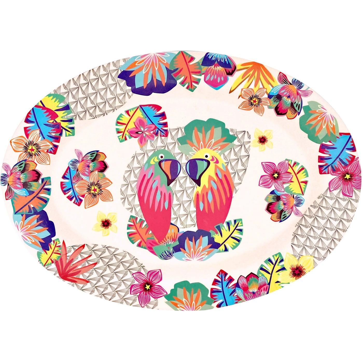 Plat de présentation ovale bambou écologique décoré par des perroquets