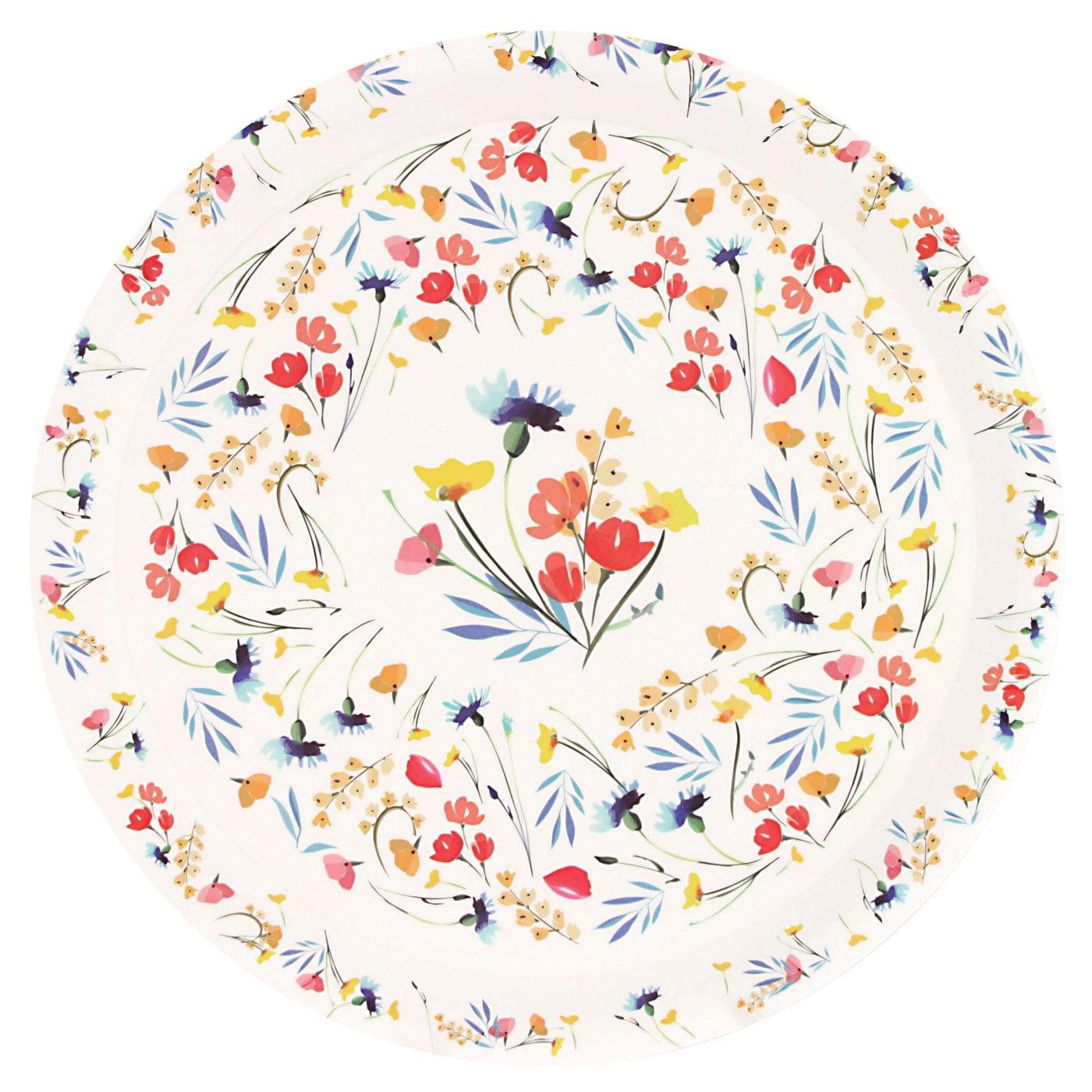 Plat de service rond en bambou 35 cm avec des motifs à fleurs
