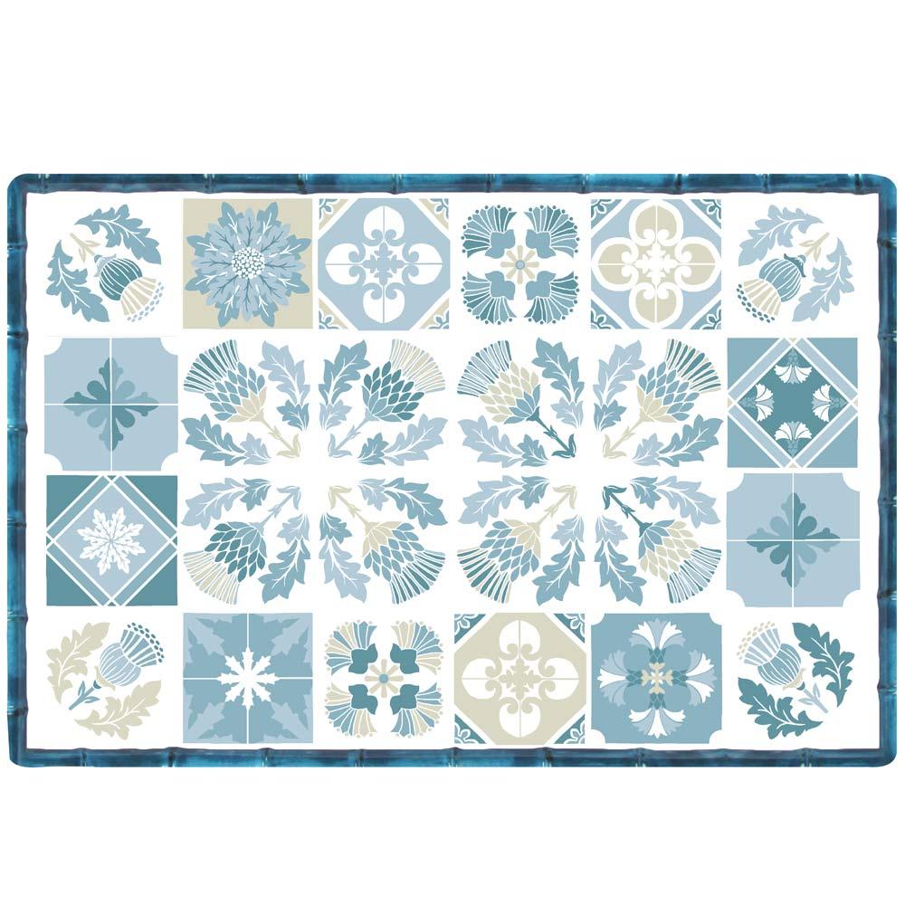 Set de table (45 x 30 cm) bleu et blanc - Lot de 6
