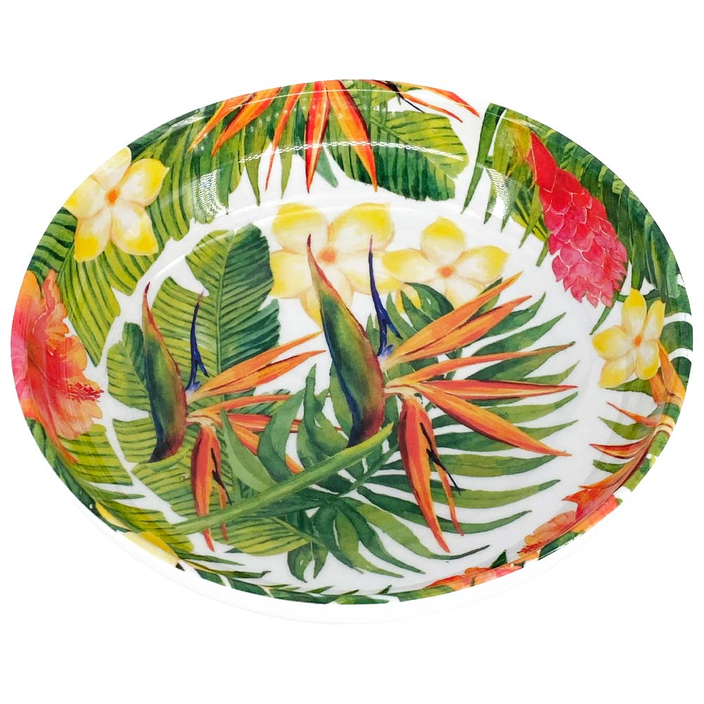 Assiette creuse en mélamine décoré par des fleurs exotiques