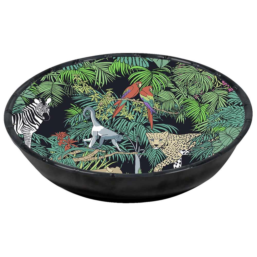 Assiette creuse mélamine contour bambou 23 cm avec des motifs jungle