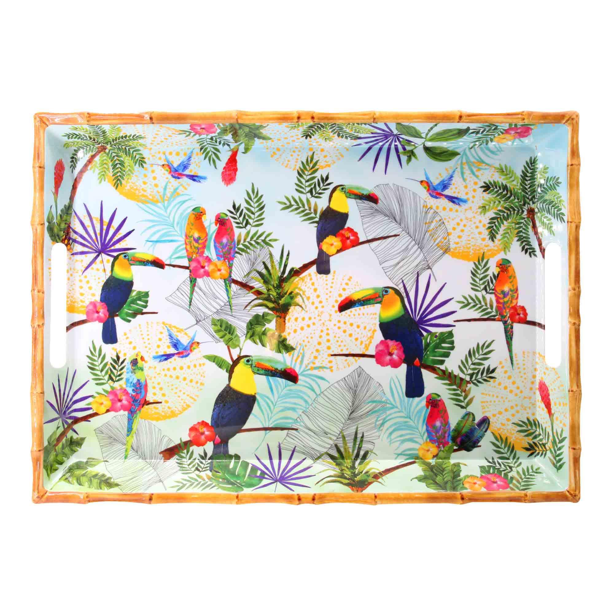 Grand plateau en mélamine avec poignées imprimé toucans de Rio