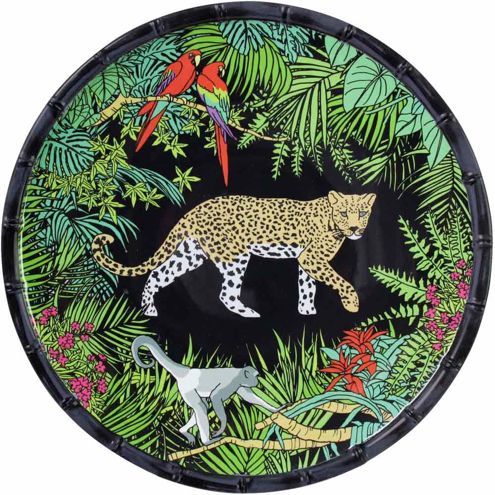 Grande assiette plate en mélamine avec des motifs jungle