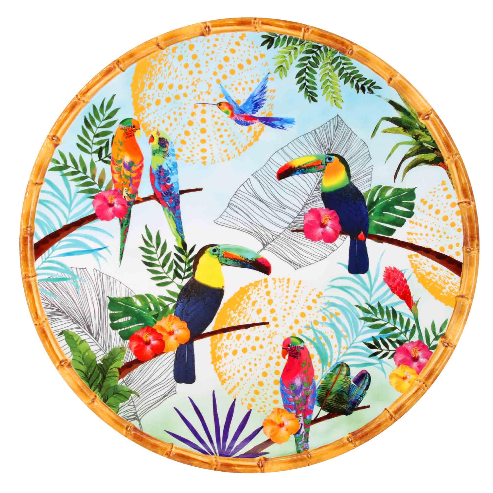 Plat de service rond en mélamine imprimé toucans de Rio