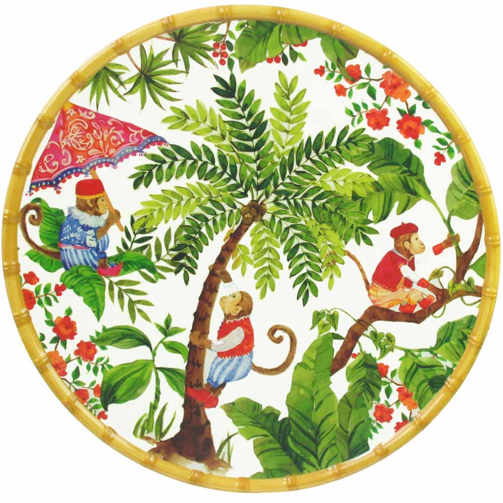 Plat de service rond en mélamine 35,5 cm décoré par des singes de Bali