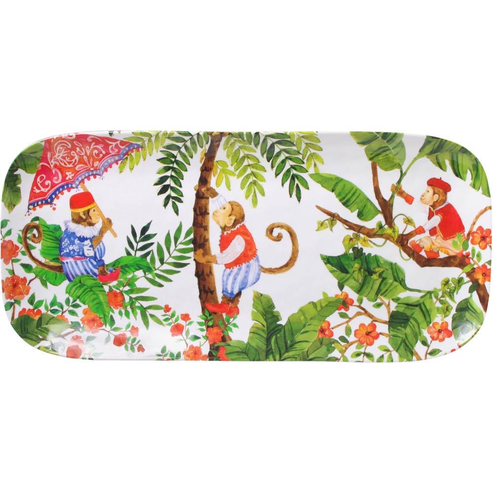 Plat à cake rectangulaire mélamine 37,5 cm décoré de singes de Bali