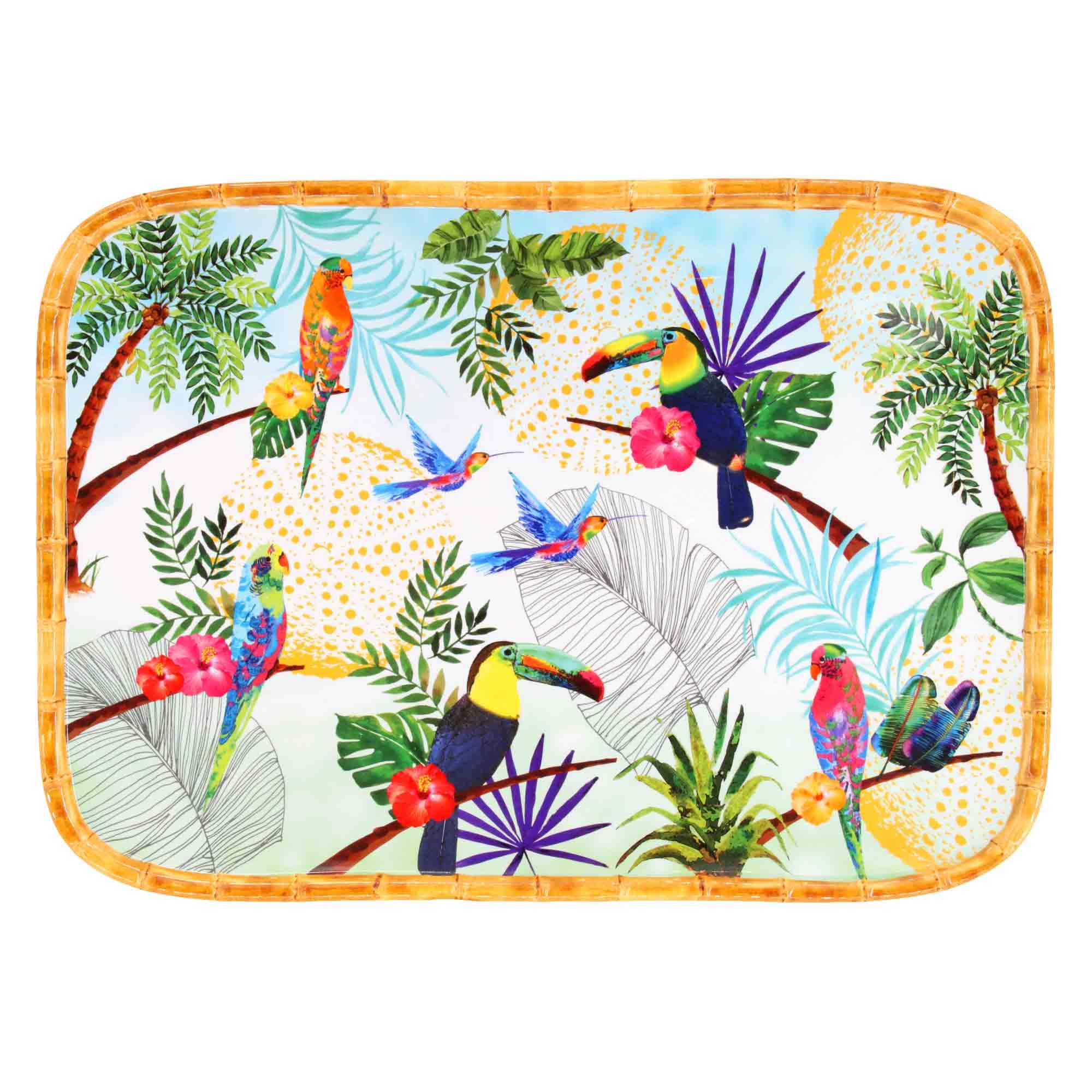 Plateau de présentation rectangulaire en mélamine imprimé toucans
