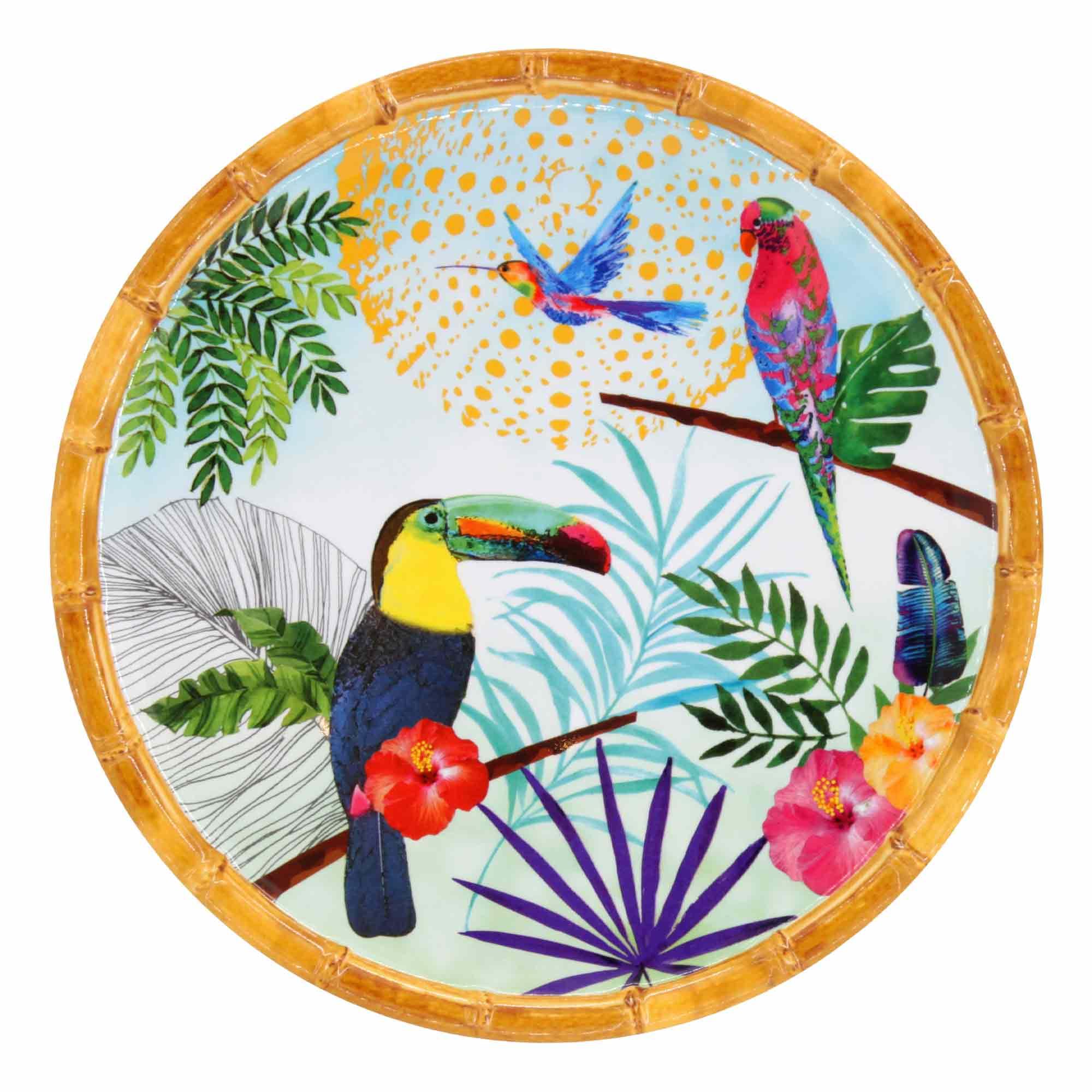 Petite assiette plate en mélamine 23 cm imprimé toucans de Rio