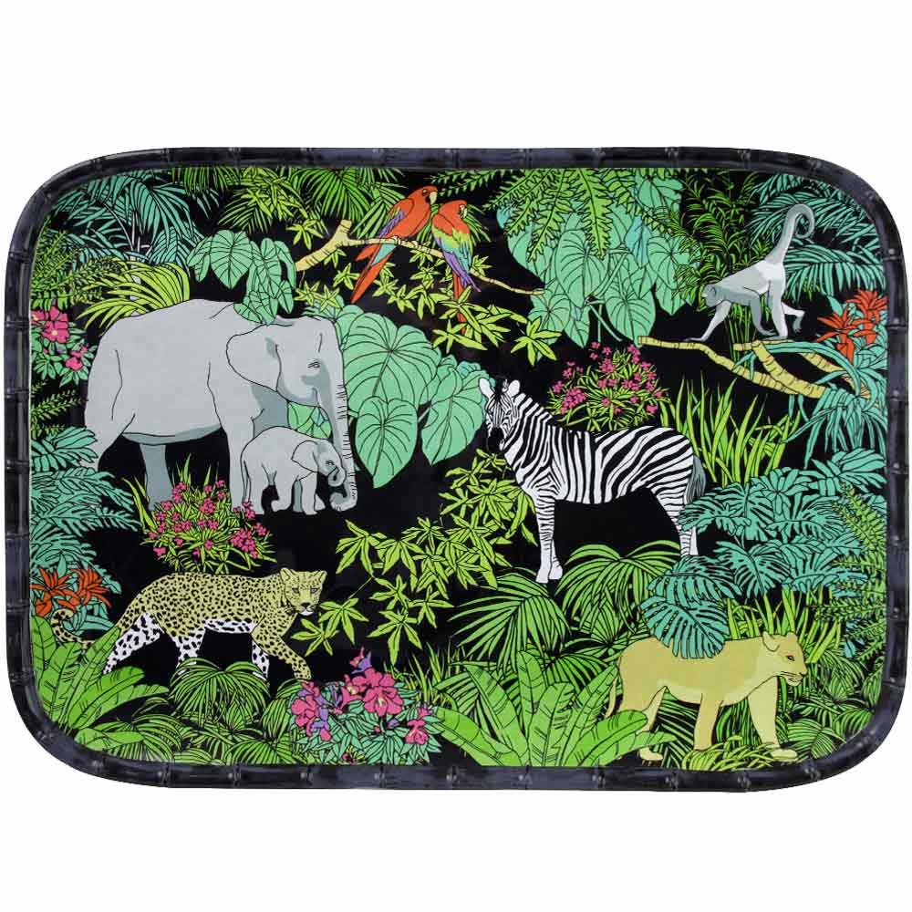 Plateau rectangulaire 45 cm en mélamine avec des motifs jungle