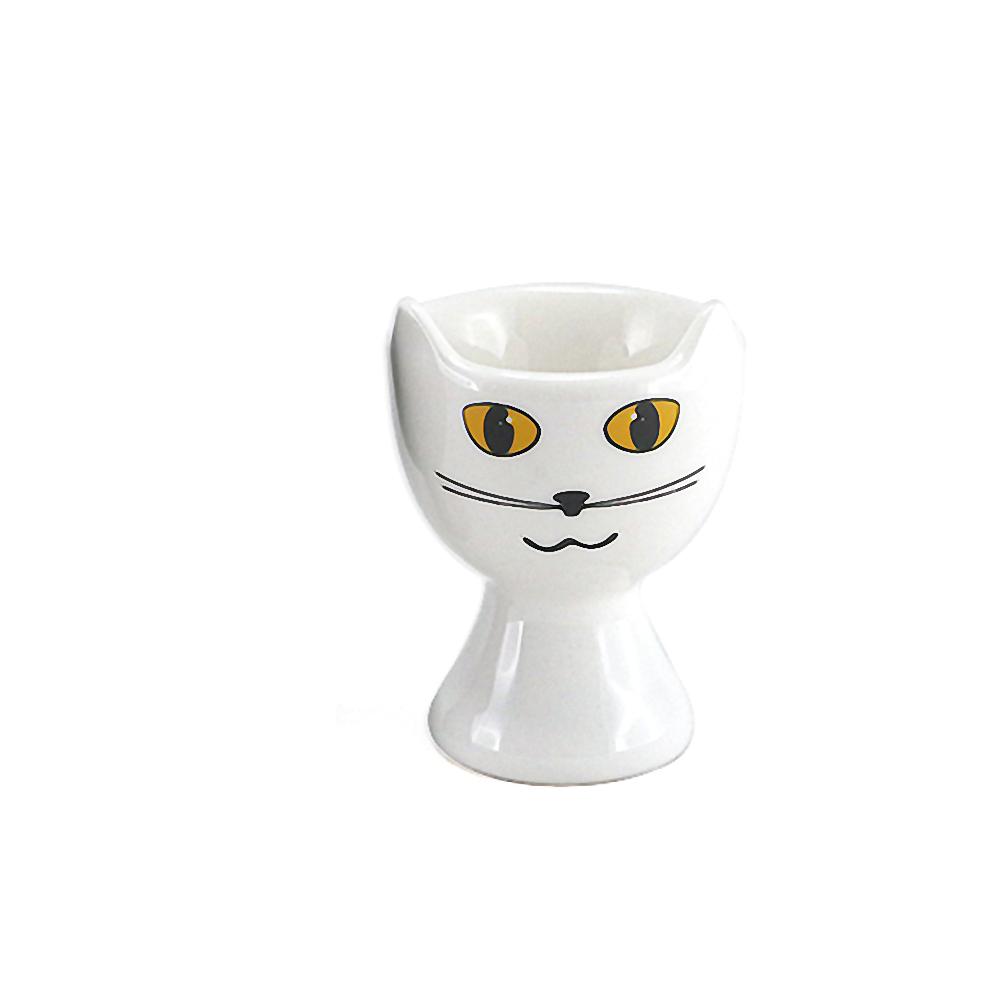 Coquetier en céramique chat blanc
