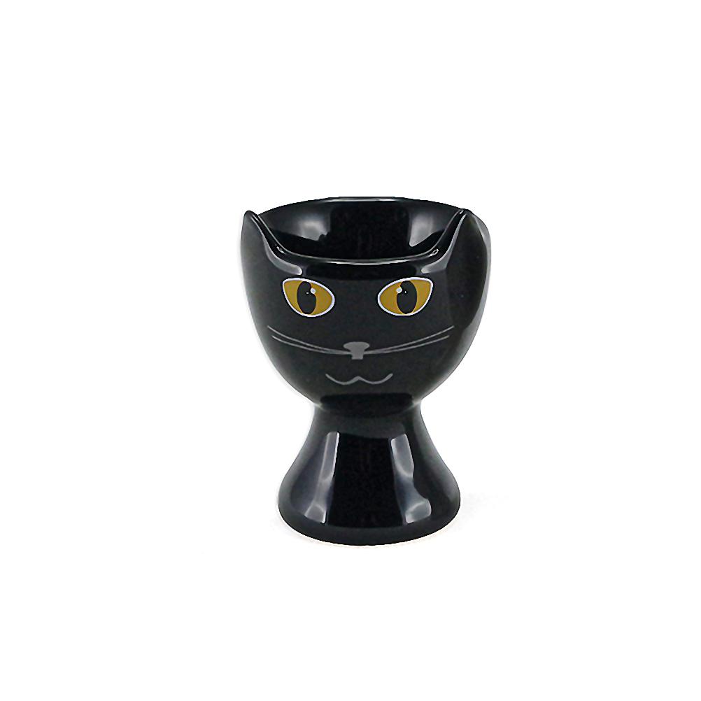 Coquetier en céramique chat noir