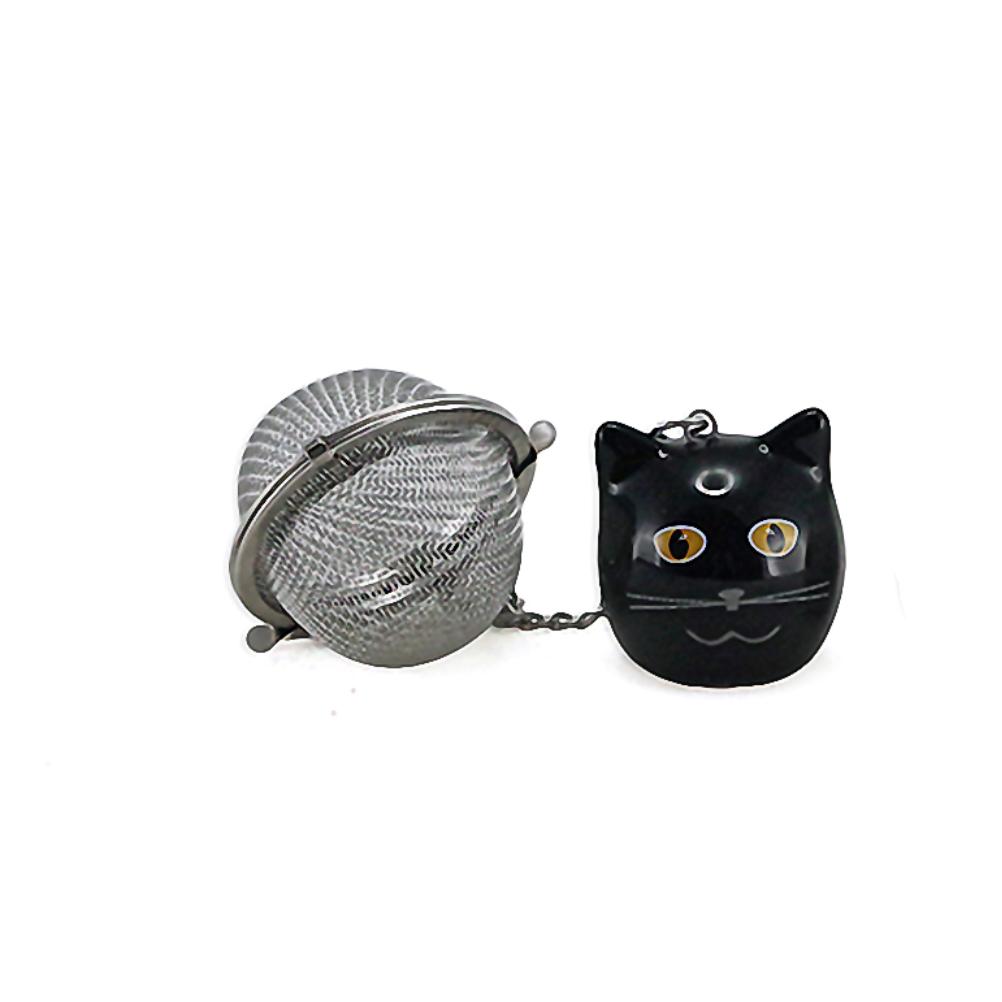 Boule à thé breloque chat noir 3,5cm