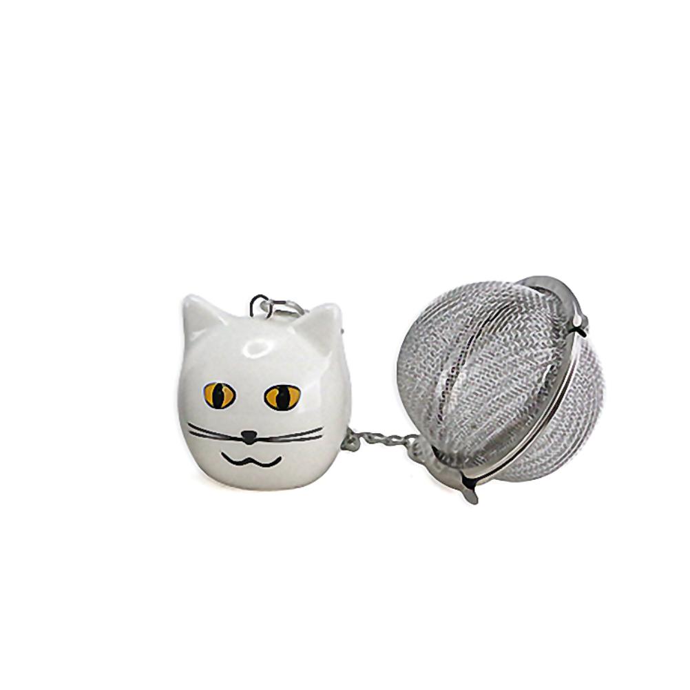 Boule à thé breloque chat blanc 3,5cm