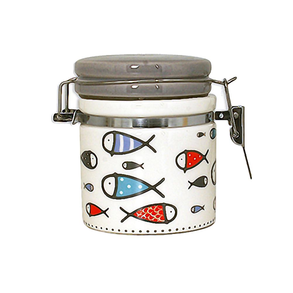 Pot à sel hermétique en faïence avec cuillère en bois