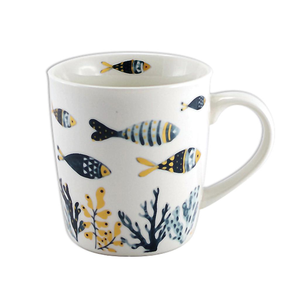 Tasse en porcelaine petits poissons