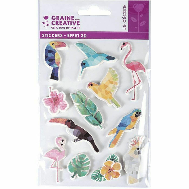 12 stickers 3D oiseaux tropicaux 6cm
