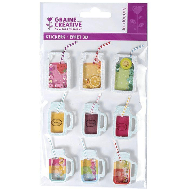 9 stickers 3D boissons mason jars 5cm