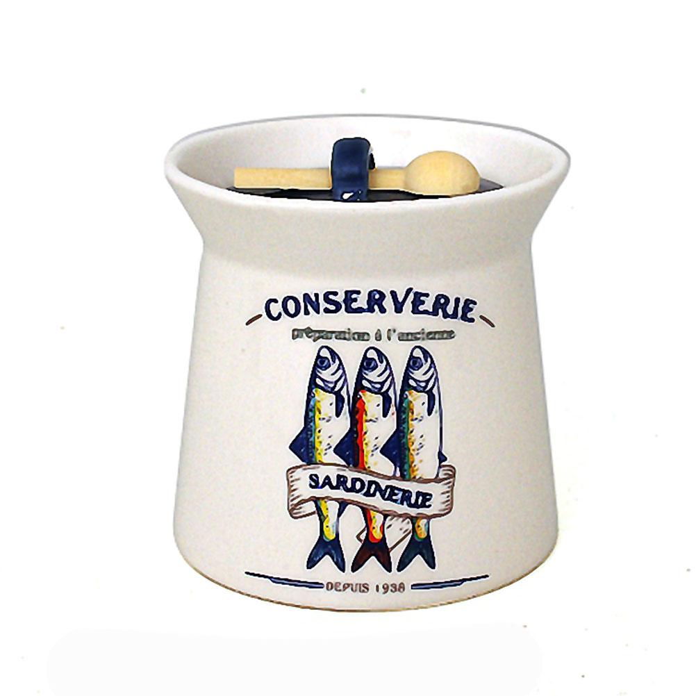Pot à sel en faïence avec cuillère en bois