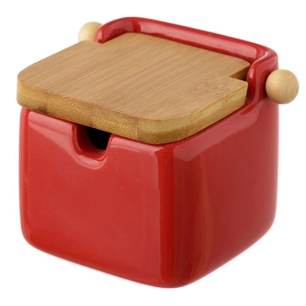 Boite à sel en céramique rouge et bambou