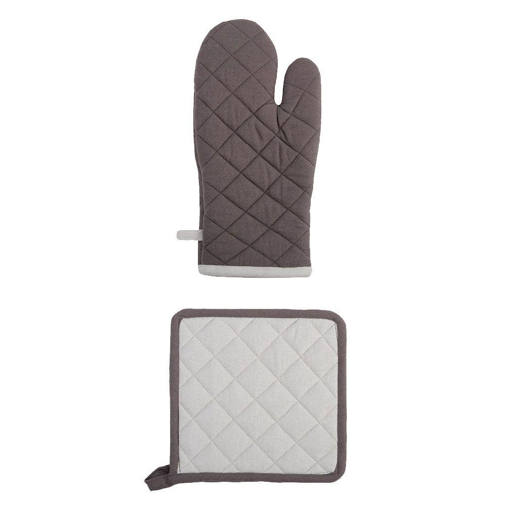 Ensemble gant et manique en coton bicolore