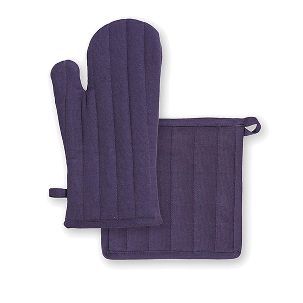 Ensemble gant et manique en coton violet unis