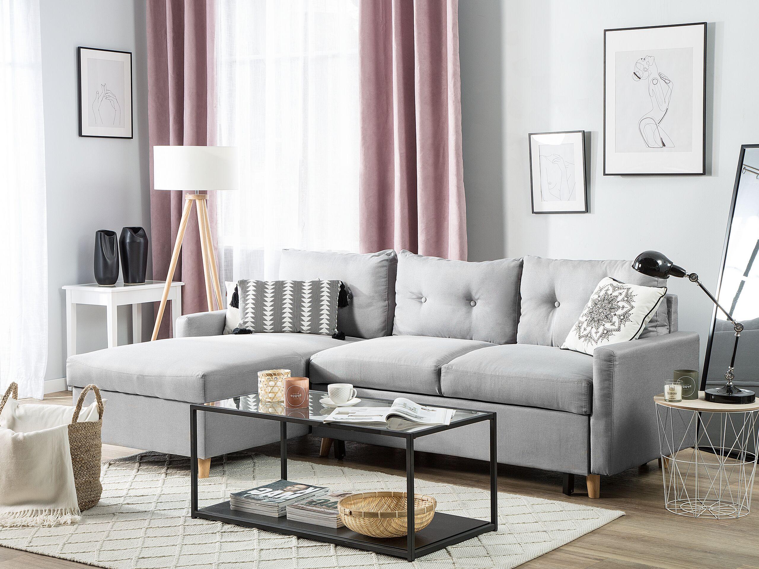 Canapé angle à droite convertible 4 places en tissu gris clair