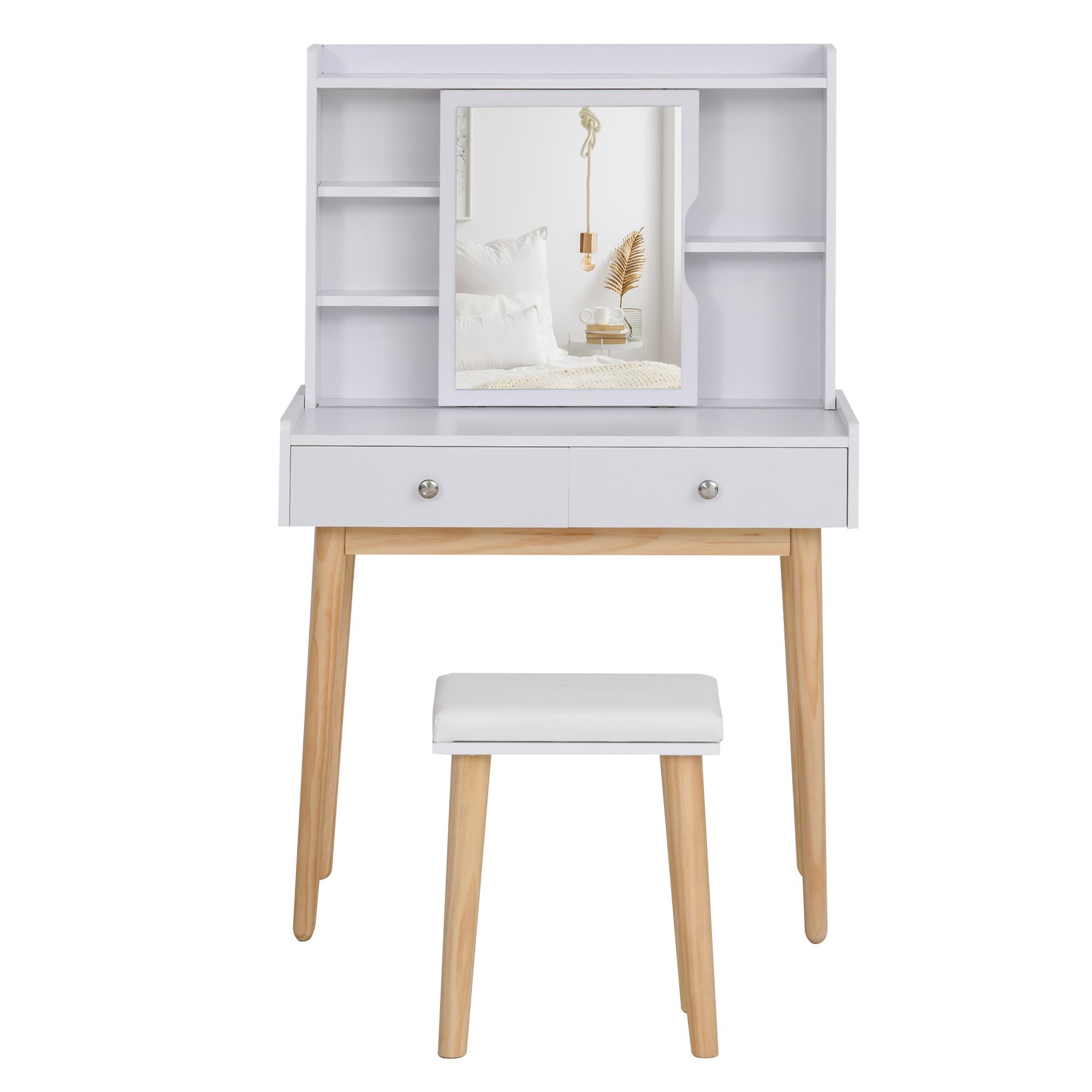 maison du monde Coiffeuse design scandinave miroir coulissant tabouret blanc pin clair