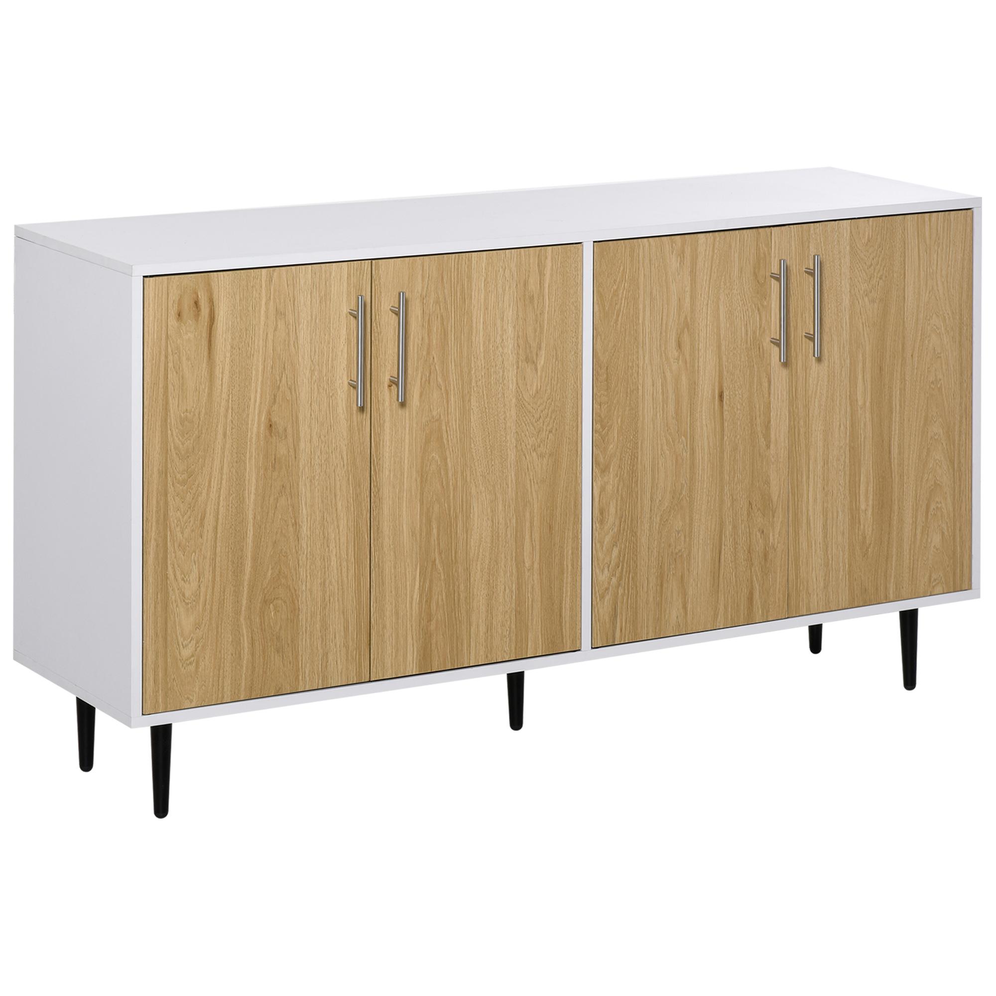 Buffet 2 placards 2 portes avec étagères réglables blanc chêne clair