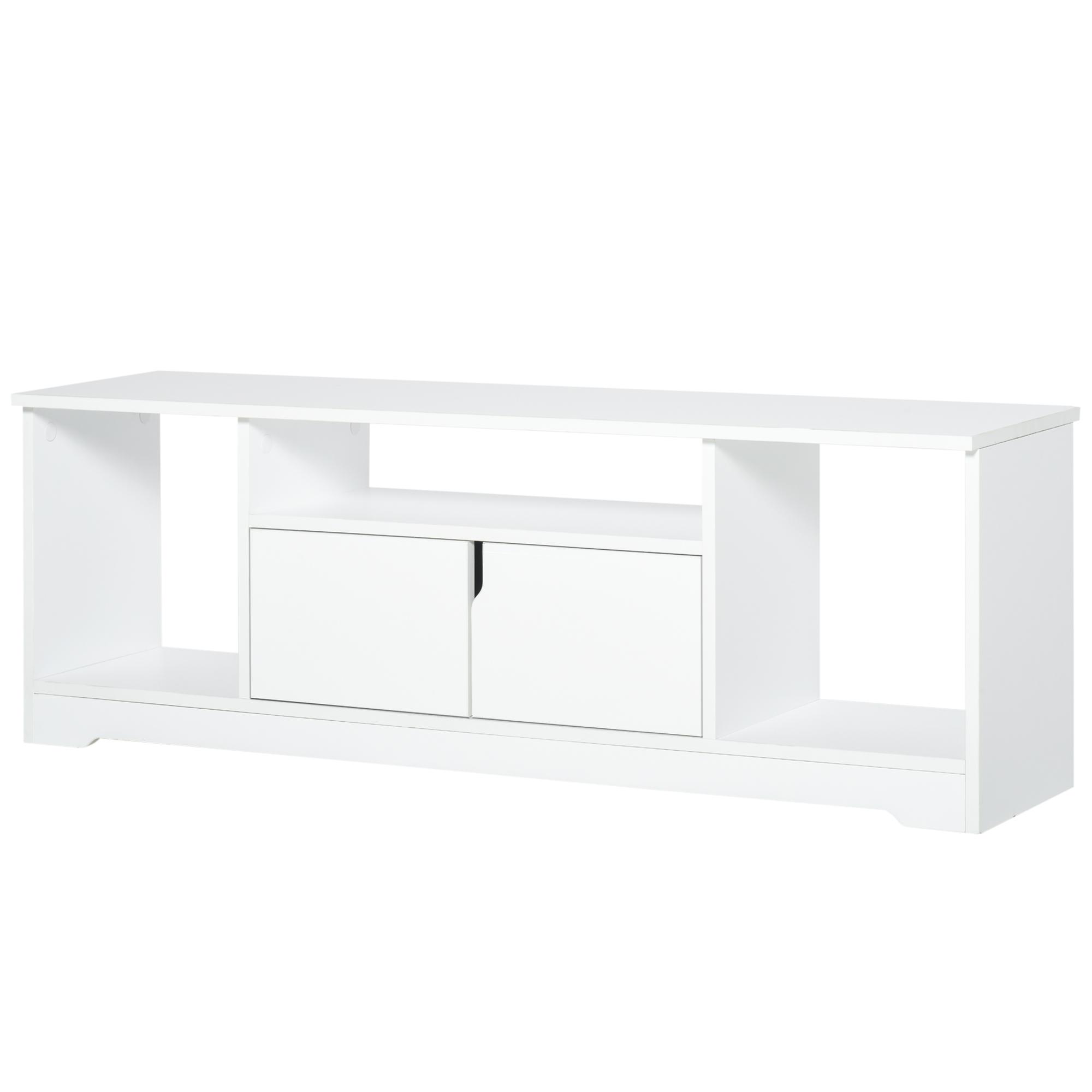 Meuble TV design 3 niches placard 2 portes panneaux particules blanc