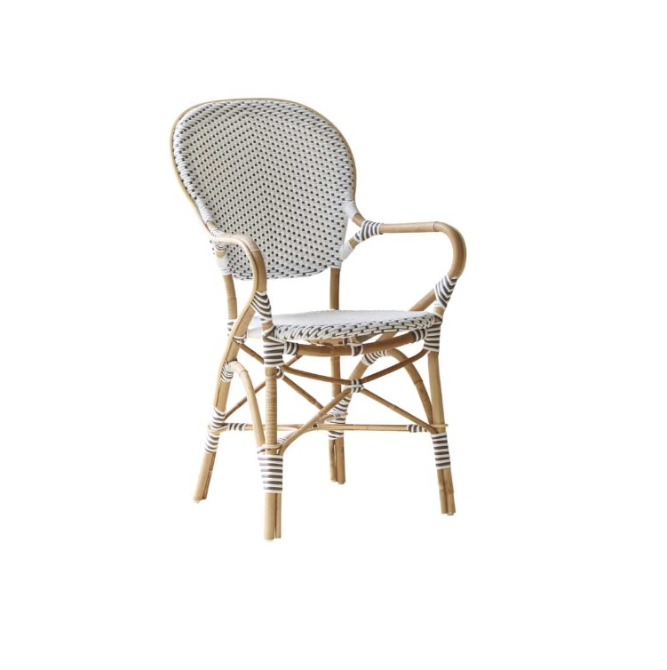 maison du monde Chaise repas empilable en rotin et fibre synthétique blanche