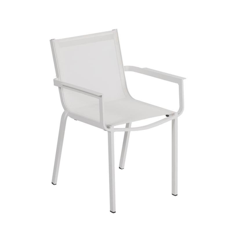 Fauteuil de jardin en aluminium et textilène blanc