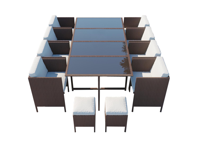 Salon de jardin encastrable 12 places en résine tressée marron/blanc