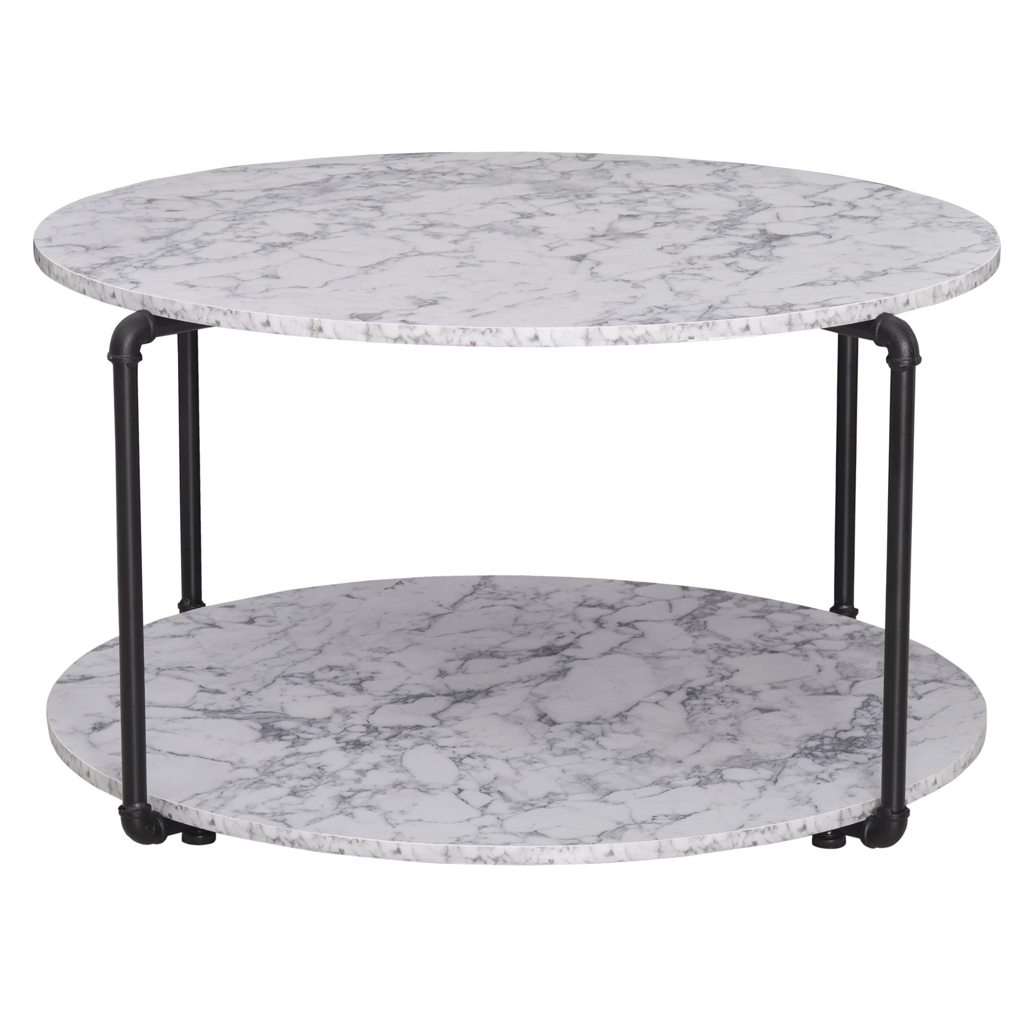Table basse ronde avec étagère imitation marbre blanc métal noir