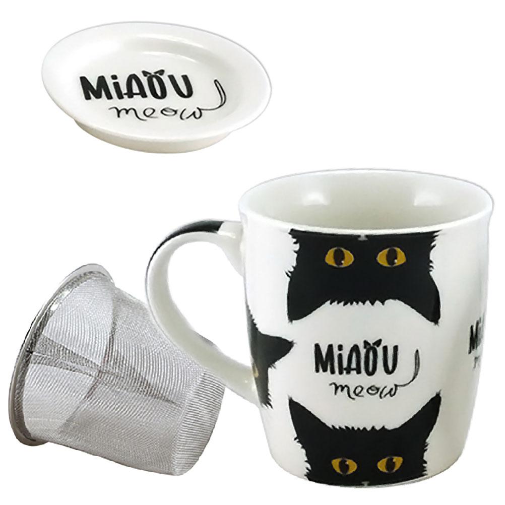 Tisanière en porcelaine avec infuseur chat