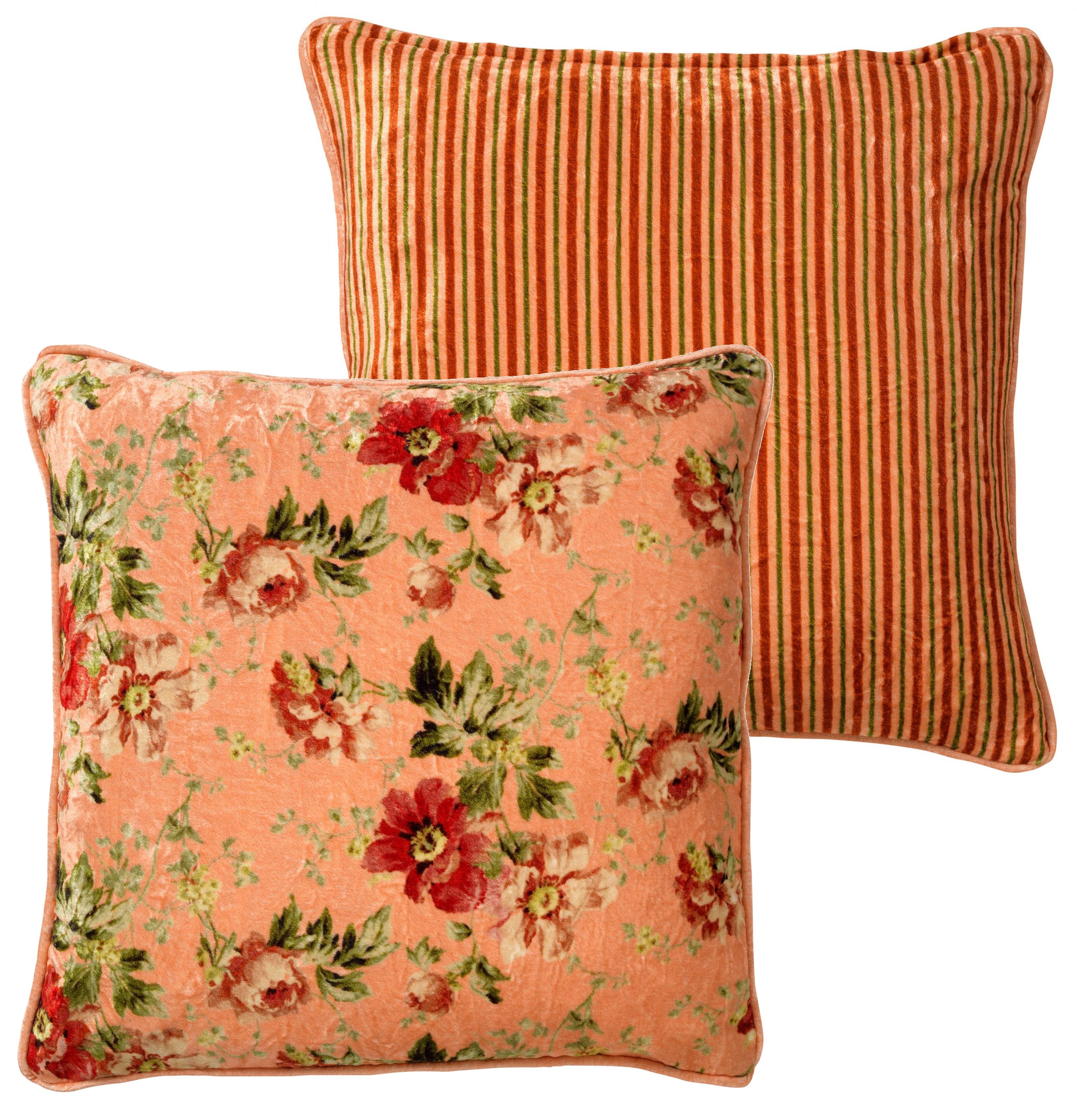 coussin en velours avec fleurs Rose saumon 45x45