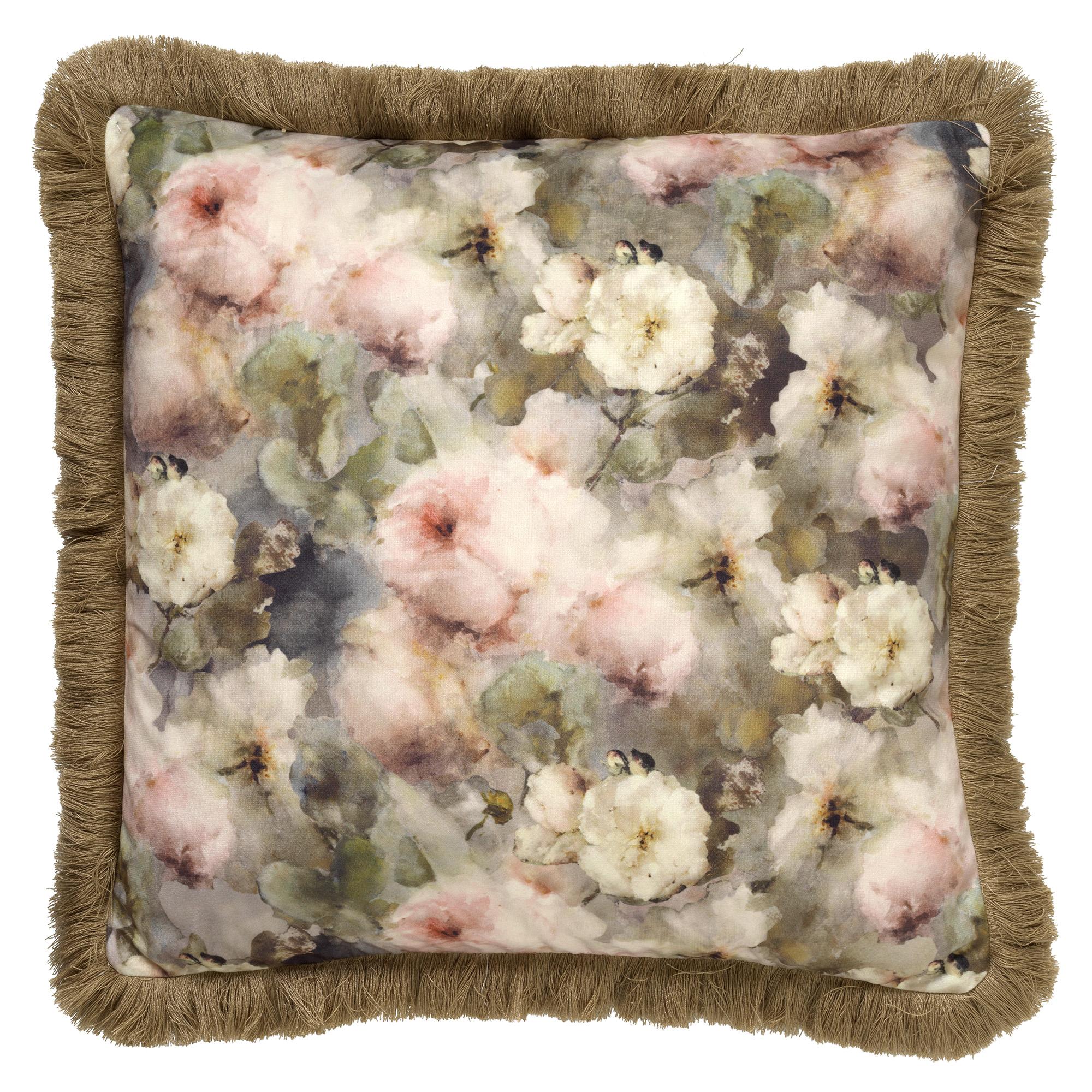 coussin en velours avec fleurs Grège 45x45