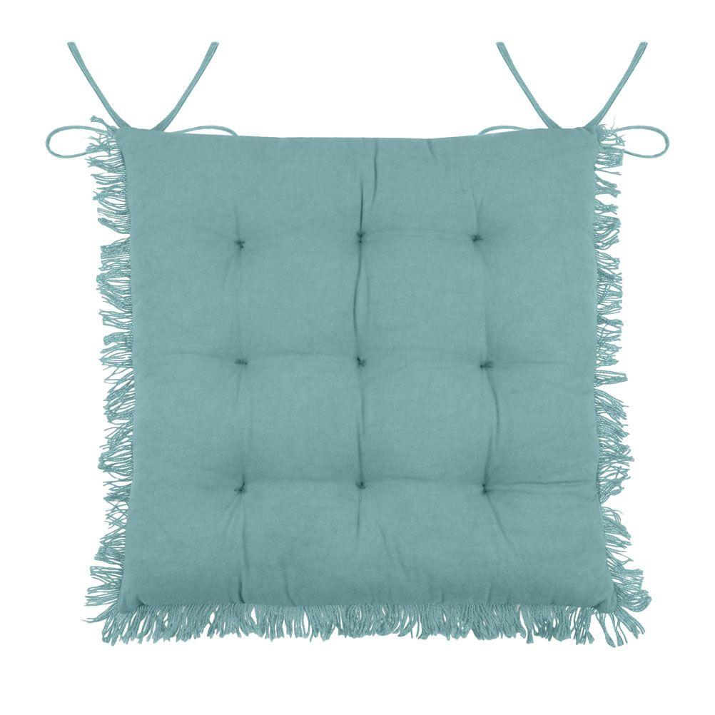 Coussin de chaise en coton bleu à franges 40x40