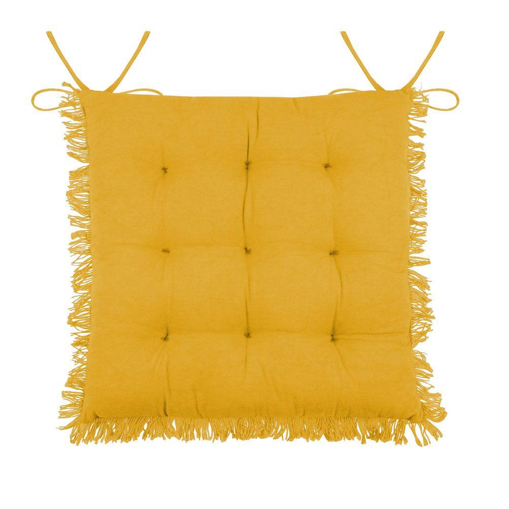 Coussin de chaise en coton jaune à franges 40x40